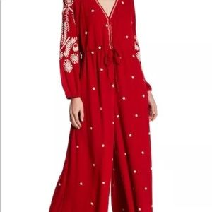 Free People Red jumpsuit romper XS